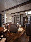 Traditionell lantlig hantverkareFarmhouse Living rum och äta middagro Royaltyfri Fotografi
