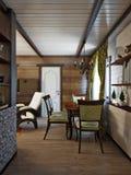 Traditionell lantlig hantverkareFarmhouse Living rum och äta middagro Arkivfoto