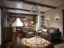 Traditionell lantlig hantverkareFarmhouse Living rum och äta middagro Royaltyfria Foton