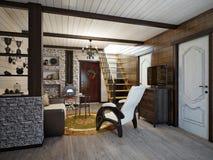 Traditionell lantlig hantverkareFarmhouse Living rum och äta middagro Royaltyfri Foto