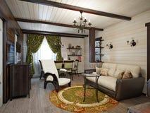 Traditionell lantlig hantverkareFarmhouse Living rum och äta middagro Arkivfoton