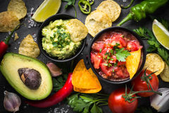 Traditionell latinamerican mexikansk såsguacamole och salsa på b royaltyfri fotografi