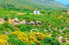 Traditionell liten grekisk kyrka och rött tak Grekland Royaltyfri Fotografi
