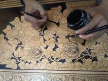 Traditionell målning från den Palembang staden arkivbild