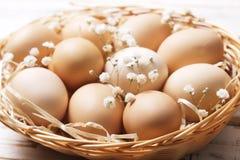Traditionell mall för easter kort med omålade blandade organiska ägg i vide- korg med hö och dekorativa vildblommor Royaltyfria Foton