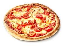 Traditionell margheritapizza på en tjock skorpa Arkivfoton