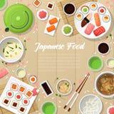 Traditionell mat för japansk kokkonst med sushi och Wasabi stock illustrationer