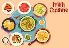 Traditionell matställe för irländsk kokkonst med efterrättsymbolen royaltyfri illustrationer