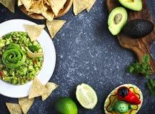 Traditionell mexikansk såsguacamole med nya ingredienser royaltyfri fotografi