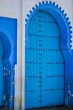 Traditionell moroccan dörrdetalj i Chefchaouen, Marocko, Afrika Arkivfoto