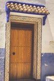 Traditionell moroccan dörrdetalj i Chefchaouen, Marocko, Afrika Arkivbilder