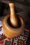 Traditionell mortel och mortelstöt Arkivbilder