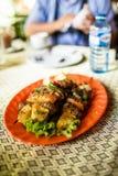 Traditionell nötköttskew av kambodjanBBQ Arkivbilder