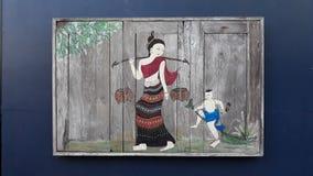 Traditionell Nan Thailand målningkonst Arkivbilder