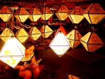Traditionell nattmarknad i Luang Prabang, Laos arkivbild