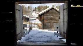 Traditionell norsk by royaltyfria bilder