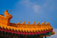 Traditionell och för arkitektur för kinesisk stil tempel på Wat Mangkon Kamalawat eller Wat Leng Noei Yi Arkivfoto