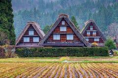 Traditionell och historisk japansk by Shirakawago Arkivbilder