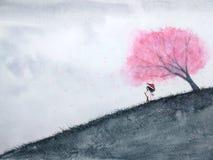 Traditionell orientalisk kvinna som väntar någon under den körsbärsröda blomningen eller sakura i fält vattenf royaltyfri illustrationer