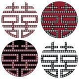 Traditionell orientaliska koreanska symmetriska dubbla lyckazensymboler i svart, vitt och rött med diamantbeståndsdelmode och tat Arkivfoto