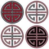 Traditionell orientaliska koreanska symmetriska zensymboler i svart, vitt och rött med beståndsdelar för för diamantbeståndsdelmo Arkivbilder