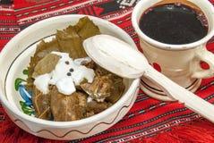 Traditionell romanian och balkanic maträttköttfärs som sloggs in i vinrankablad, tjänade som med kräm i en lerabunke Royaltyfri Fotografi