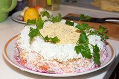 Traditionell rysk salladsill under ett pälslag på en stor vit maträtt som dekoreras med gräsplaner arkivbilder
