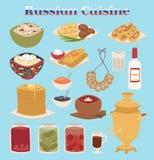 Traditionell rysk välkomnande för mat för kurs för kokkonstkulturmaträtt till illustrationen för Ryssland den gourmet- nationella vektor illustrationer