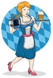 Traditionell servitris med ölkrus för Oktoberfest beröm, vektorillustration royaltyfri illustrationer
