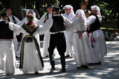 Traditionell Slavonian folkdans Arkivfoto