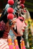 Traditionell smink- och hårstil av den kinesiska operaattrappen Royaltyfria Bilder
