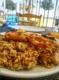 Traditionell spansk havs- paella Arkivbild