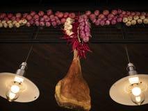 Traditionell spansk jamonskinka och att hänga bredvid chilipeppar och lökar arkivbild