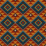 Traditionell stam- Aztec sömlös modell på den ull stack texturen vektor illustrationer