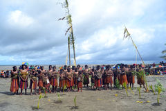 Traditionell stam- dans på maskeringsfestivalen Royaltyfria Bilder