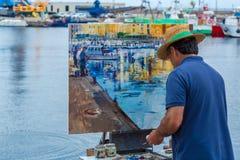 Traditionell stellen Sie schnell Keuchenwettbewerb in einer kleinen spanischen Stadt Palamos in Costa Brava dar 03 06 Spanien 201 Stockbild