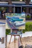 Traditionell stellen Sie schnell Keuchenwettbewerb in einer kleinen spanischen Stadt Palamos in Costa Brava dar 03 06 Spanien 201 Stockbilder