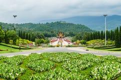 Traditionell thai arkitektur i den Lanna stilen, kungliga Pavilio Arkivbilder