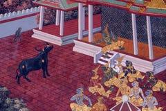 Traditionell thailändsk konstmålning på en vägg Royaltyfria Bilder