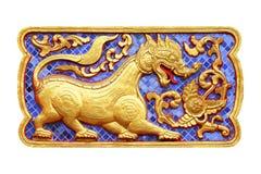 Traditionell thailändsk stilkonst av zodiak för stuckatur 12 Royaltyfria Foton