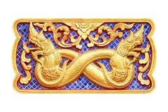 Traditionell thailändsk stilkonst av zodiak för stuckatur 12 Royaltyfri Foto