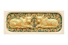 Traditionell thailändsk stilkonst av zodiak för stuckatur 12 Arkivbild
