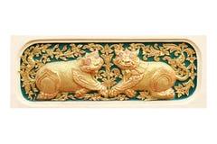 Traditionell thailändsk stilkonst av zodiak för stuckatur 12 Royaltyfria Bilder