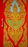 Traditionell thailändsk stilkonstmålning på dörr i tempel Royaltyfria Bilder