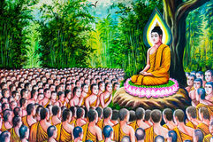 Traditionell thailändsk stilmålning på tempelväggen Royaltyfria Foton