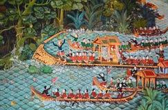 Traditionell thailändsk väggmålning Royaltyfria Foton