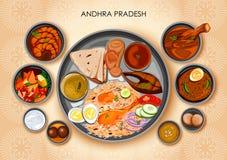 Traditionell thali för Andhrait kokkonst- och matmål av Andhra royaltyfri illustrationer