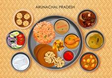 Traditionell thali för Arunachali kokkonst- och matmål stock illustrationer