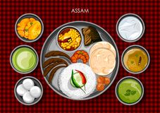 Traditionell thali för Assamesekokkonst- och matmål av Assam stock illustrationer