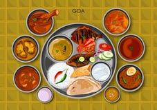 Traditionell thali för Goan kokkonst- och matmål av Goa Indien stock illustrationer